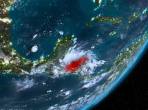 Opinión de la órbita de Honduras en la noche ilustración del vector