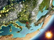 Opinión de la órbita de Kosovo durante salida del sol libre illustration