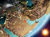 Opinión de la órbita de Kuwait durante salida del sol ilustración del vector