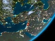 Opinión de la órbita de Líbano en la noche ilustración del vector