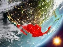 Opinión de la órbita de México durante salida del sol ilustración del vector