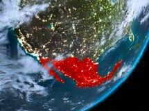 Opinión de la órbita de México en la noche stock de ilustración