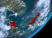 Opinión de la órbita de Malasia en la noche libre illustration
