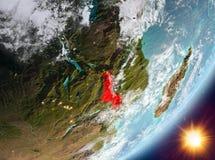 Opinión de la órbita de Malawi durante salida del sol ilustración del vector