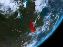Opinión de la órbita de Malawi en la noche ilustración del vector