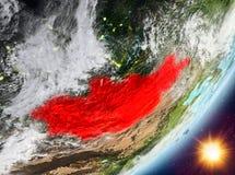 Opinión de la órbita de Mongolia durante salida del sol stock de ilustración