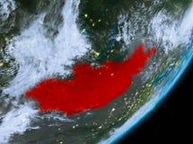 Opinión de la órbita de Mongolia en la noche ilustración del vector