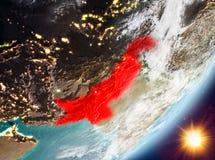 Opinión de la órbita de Paquistán durante salida del sol stock de ilustración