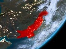 Opinión de la órbita de Paquistán en la noche stock de ilustración