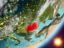 Opinión de la órbita de Rumania durante salida del sol stock de ilustración