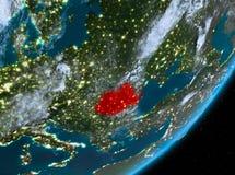 Opinión de la órbita de Rumania en la noche libre illustration