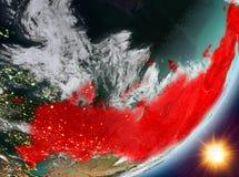 Opinión de la órbita de Rusia durante salida del sol libre illustration