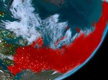 Opinión de la órbita de Rusia en la noche stock de ilustración
