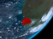 Opinión de la órbita de Senegal en la noche ilustración del vector