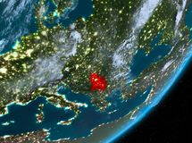 Opinión de la órbita de Serbia en la noche libre illustration