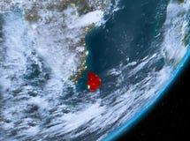 Opinión de la órbita de Sri Lanka en la noche ilustración del vector