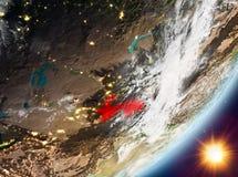 Opinión de la órbita de Tayikistán durante salida del sol stock de ilustración