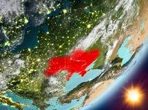 Opinión de la órbita de Ucrania durante salida del sol libre illustration