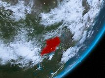 Opinión de la órbita de Uganda en la noche ilustración del vector