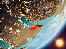Opinión de la órbita de United Arab Emirates durante salida del sol ilustración del vector