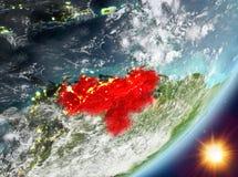 Opinión de la órbita de Venezuela durante salida del sol stock de ilustración