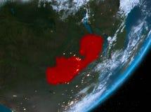 Opinión de la órbita de Zambia en la noche ilustración del vector