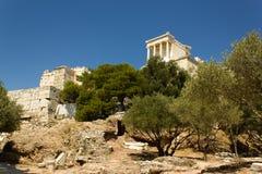 Opinión de la acrópolis de Atenas Grecia Fotografía de archivo