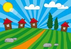 Opinión de la aldea Imagen de archivo
