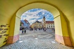 Opinión de la arcada de Sibiu Imagen de archivo libre de regalías
