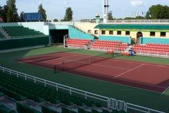 Opinión de la arena del tenis Foto de archivo