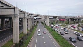 Opinión de la autopista de Tailandia, bangna mega almacen de video