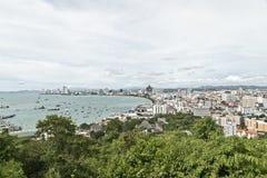 Opinión de la bahía de la ciudad de Pattaya Imágenes de archivo libres de regalías