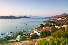 Opinión de la bahía de Mirabello que sorprende sobre Crete Imagen de archivo libre de regalías