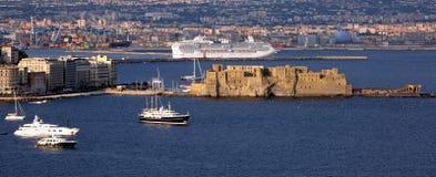 Opinión de la bahía de Nápoles Foto de archivo libre de regalías