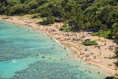 Opinión de la bahía del hanauma de Hawaii Oahu foto de archivo