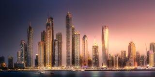 Opinión de la bahía del puerto deportivo de Dubai de la palma Jumeirah, UAE Imágenes de archivo libres de regalías
