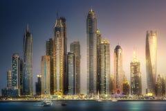 Opinión de la bahía del puerto deportivo de Dubai de la palma Jumeirah, UAE Foto de archivo libre de regalías