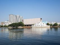 Opinión de la bahía de Hama Rikyu Garden, Tokio, Japón foto de archivo libre de regalías