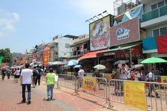 Opinión de la calle de Cheung Chau en Hong Kong Fotografía de archivo libre de regalías