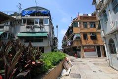 Opinión de la calle de Cheung Chau en Hong Kong Imagen de archivo