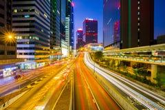 Opinión de la calle de la ciudad de Hong Kong en China imagenes de archivo