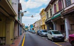 Opinión de la calle de Malaca Foto de archivo libre de regalías