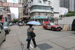 Opinión de la calle de Mong Kok en Hong Kong Fotos de archivo libres de regalías