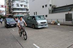 Opinión de la calle de Mong Kok en Hong Kong Fotos de archivo