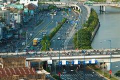Opinión de la calle de Saigon desde arriba fotografía de archivo libre de regalías