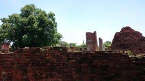 Opinión de la calle de Tailandia del cementerio viejo en ayutthaya , Tailandia almacen de metraje de vídeo
