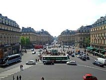 Opinión de la calle del balcón de Garnier de la ópera imágenes de archivo libres de regalías