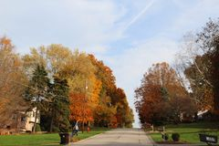Opinión de la calle del otoño Foto de archivo