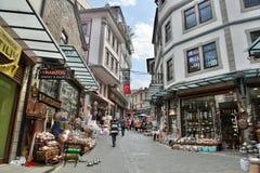 Opinión de la calle en el distrito del bazar de Trebisonda, Turquía imagenes de archivo