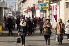 Opinión de la calle en Hanu Manuc, Bucarest Fotografía de archivo